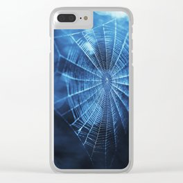 Spider Web in Blue Clear iPhone Case
