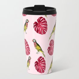 parrots and red leaves Travel Mug