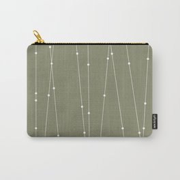 Contemporary Intersecting Vertical Lines in Sage Green Carry-All Pouch