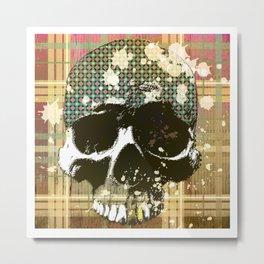 tartan skull Metal Print