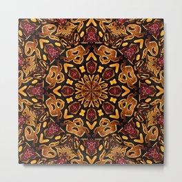 Ball Python Mandala with Red Garnets Metal Print