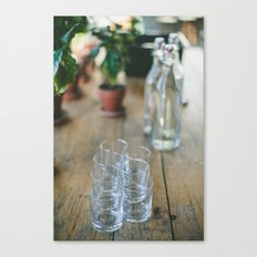 Wood Grain & Glasses  Canvas Print