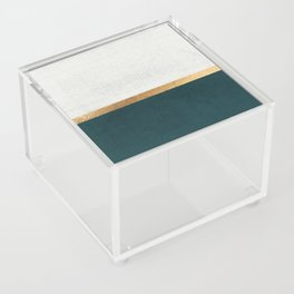 Deep Green, Gold and White Color Block Acrylic Box