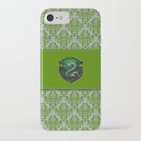 slytherin iPhone & iPod Cases featuring Slytherin House by Sarah and Bree