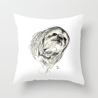 sloth Throw Pillows featuring Sloth by Ursula Rodgers