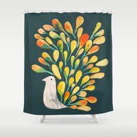 peacock Shower Curtains featuring Watercolor Peacock by Picomodi
