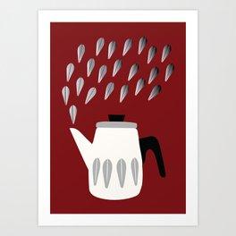 Steaming Coffeepot in Grey Art Print