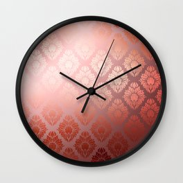"""Millennial Pink Damask Pattern"" Wall Clock"