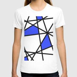 Geometric Modern triangles - white blue T-shirt