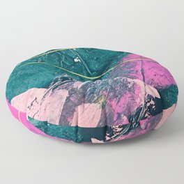 Wild [6]: a vibrant, bold, minimal abstract piece in teal, pink, and green Floor Pillow