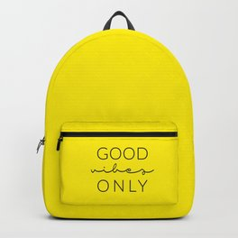 Good Vibes Only Black Yellow Backpack