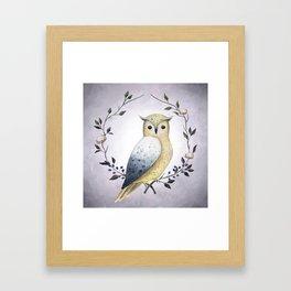 A Long Eared Owl On A Laurel Framed Art Print