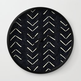 Mudcloth Big Arrows in Black and White Wall Clock