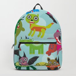 Cute cartoon Monsters seamless pattern on blue background Backpack
