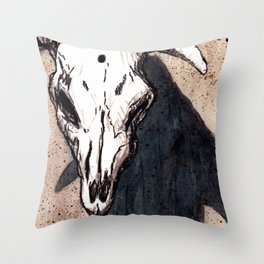 Corrales Cow Skull, Bullet Hole Throw Pillow