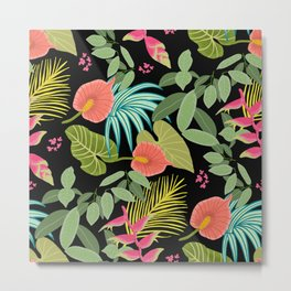 Exotic Garden Tropical Illustration, Floral, Bright and Colourful Caribbean Style Metal Print