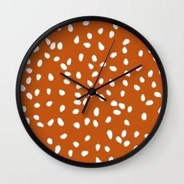 Tiny Leaf Pattern Rust Wall Clock