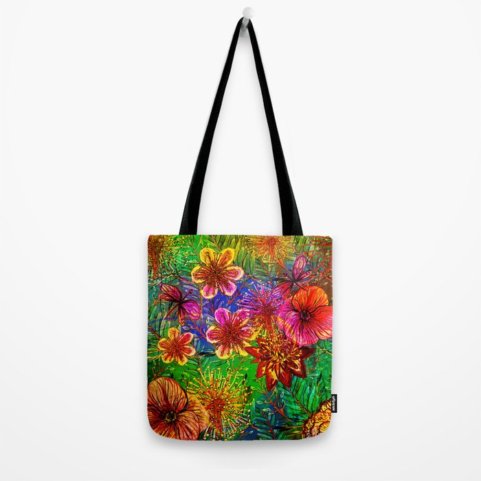 Tropical Heat-Colorful Floral Exotic Tropical Flower Pattern Tote Bag