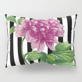 Pink Peony Black Stripes Chic Pillow Sham