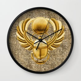 Gold Egyptian Scarab Wall Clock