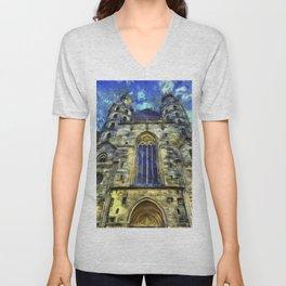 St Stephens Cathedral Vienna Van Goth Unisex V-Neck