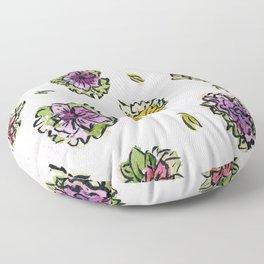 Watercolor Flower Pattern Floor Pillow