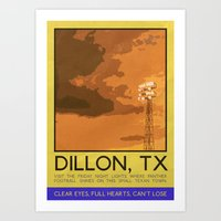 friday night lights Art Prints featuring Silver Screen Tourism: DILLON, TX / FRIDAY NIGHT LIGHTS by Stone Heart Media