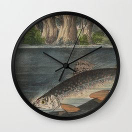 Vintage Illustration of a Hooked Brook Trout (1874) Wall Clock