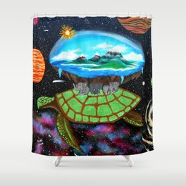 Cosmic Turtle Journey Through Space Shower Curtain