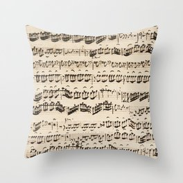 Johann Sebastian Bach (1685 – 1750) original music sheet Throw Pillow