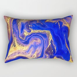 Marble gold and deep blue Rectangular Pillow