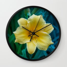 Yellow Day Lily on Green Blue Background Wall Clock