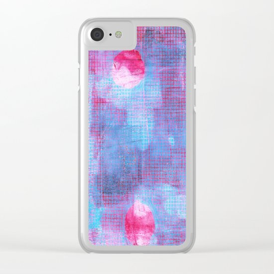 Crimson Clover, Abstract Monoprint Painting Clear iPhone Case