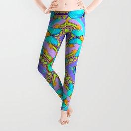 Pastel Turquoise Butterflies & Lilac Pattern Leggings