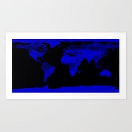 worlD Map Blue & Black Art Print