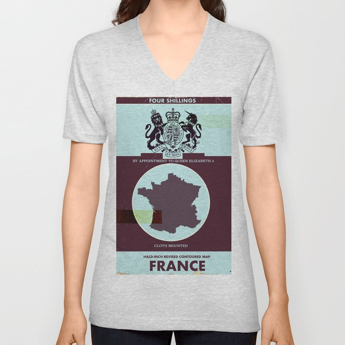 France vintage worn style map poster Unisex V-Neck