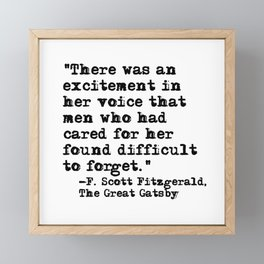 Excitement in her voice ― Fitzgerald quote Framed Mini Art Print