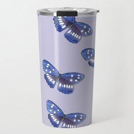 Blue butterflies on lilac background Travel Mug