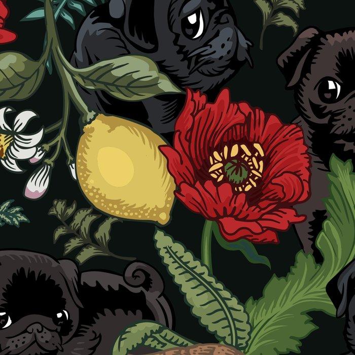 Botanical and Black Pugs Leggings