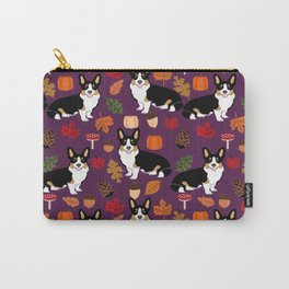 Tricolored Corgi autumn woodland pillow print iphone case phone case corgis cute design Carry-All Pouch