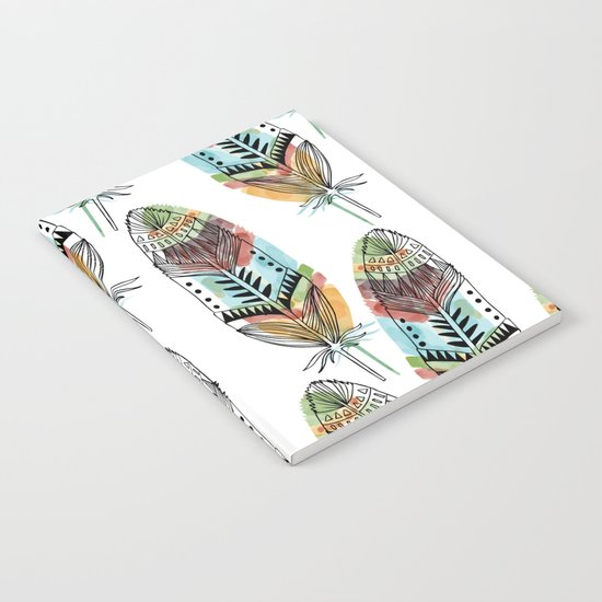 Aztec Watercolor feathers Notebook