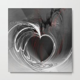 Heart black Metal Print