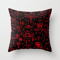 notebook Throw Pillows featuring notebook scribbles for satan by Mel Fox