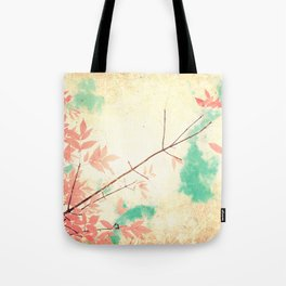 Textured Fall (Vintge Fall pink - orange leafs on textured clouds and blue sky) Tote Bag