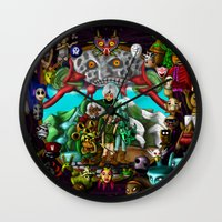 majoras mask Wall Clocks featuring Majoras mask by Rowena White