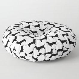 Dachshund Black and White Pattern Floor Pillow