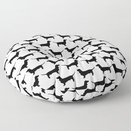Dachshund Silhouette Black and White Pattern Floor Pillow