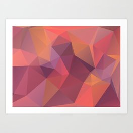 Bright polygonal triangle abstract design Art Print