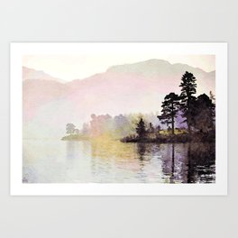 Pines along the Lake in the Mist, Lake District, UK. Watercolor Painting Art Print