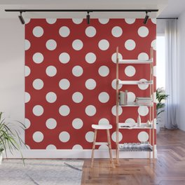 Firebrick - red - White Polka Dots - Pois Pattern Wall Mural